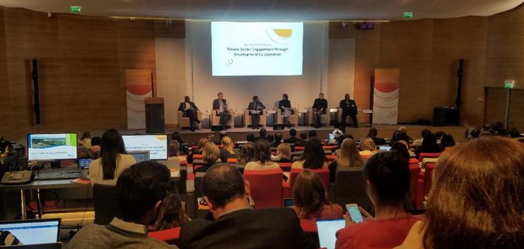 Durante la sesión inicial del evento de Diálogo Especializado con el Sector Privado de la OCDE y el PNUD.
